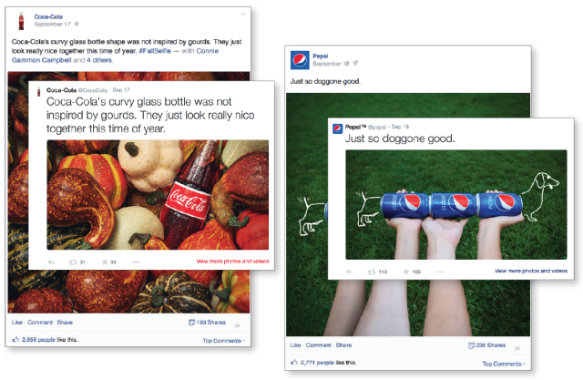 pepsi and coke Facebook and twitter page screenshots